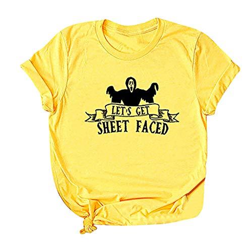 Respctful✿ Halloween Pumpkin Costume Funny Tees Women's Let's Get Sheet Face Print Short Sleeve T-Shirt Tops Yellow