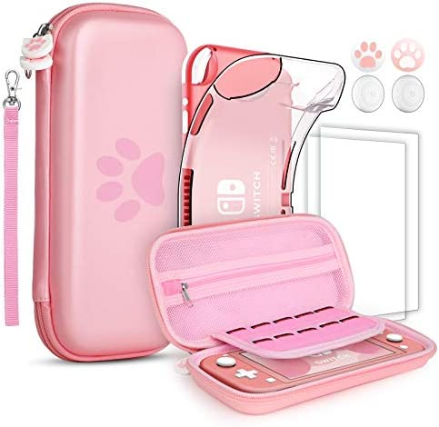 GeeRic 8PCS Case Compatible with Switch Lite, Carrying Case Accessories Kit, 1 Soft Silicon Case + 2 Screen Protector + 4 Thumb Caps + 1 Storage Carrying Pink