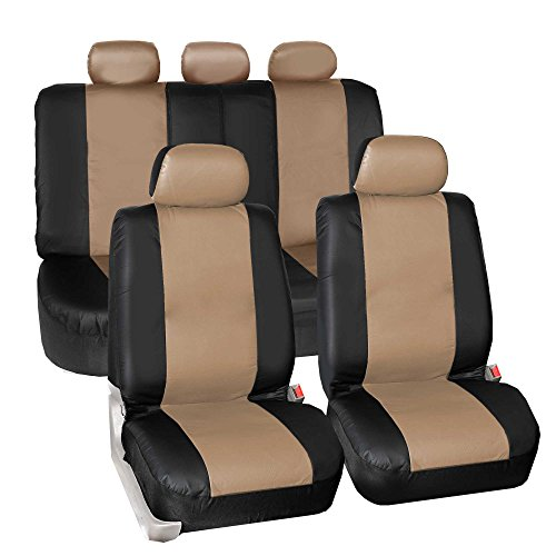 Universal for Cars Trucks and SUVs Full Set with Gift FH Group PU021115 Faux Leather Seat Cover Beige