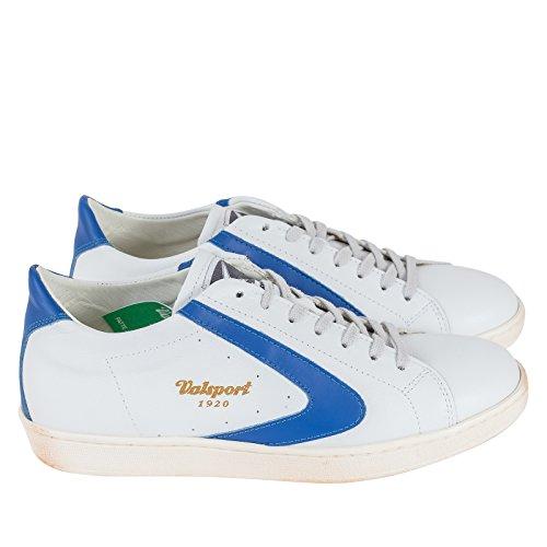 VALSPORT Sneaker Stringata, Uomo, Scarpa con Lacci, Logo Applicato sulla Linguetta e sui Lati, Suola Effetto Vintage, Logo a Contrasto, Mod. TOUR007 P/E18 (Bianco/Royal).