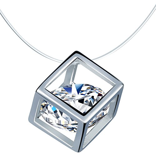 Infinite U Women's Sterling Silver Hollow Cube Cubic Zirconia Pendant Choker Invisible Fish Line Necklace (Zirconia Fish Bracelets)