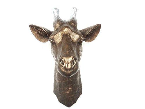 Faux Taxidermy Ombre Bronze Faded To Silver Giraffe Head Wall Decor - Faux Giraffe - Fake Taxidermy Wall Mount - Resin Safari Decor G0910