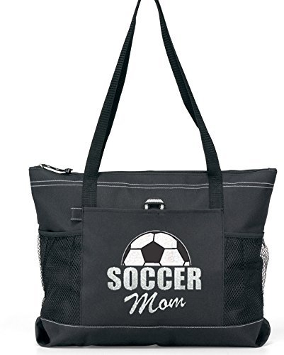 Half Ball Soccer Mom Tote in White glitter on a Large Black Tote(a)