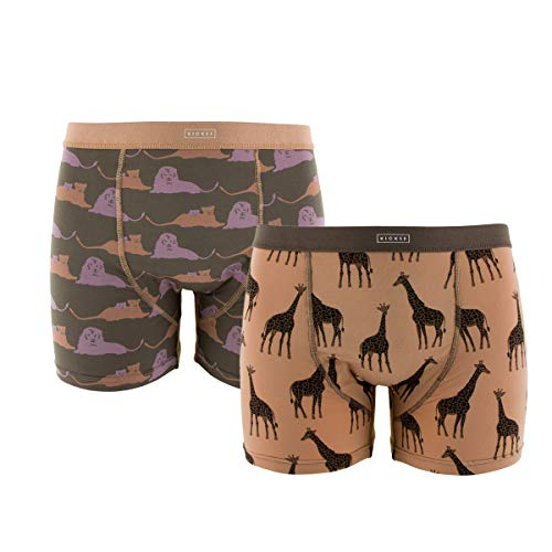 (Kickee Pants Little Boys Boxer Briefs Set (Set of 2), Lions and Suede Giraffes, Small)