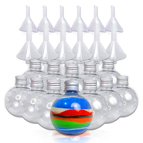 JJ CARE 12 Round-Shaped Bottles with Funnels for Art Sand/Scenic Sand Non-Toxic Colored Sand for Kids' Arts & Crafts, Decorations and Crafty Collection Bottles (Sand Christmas Art)