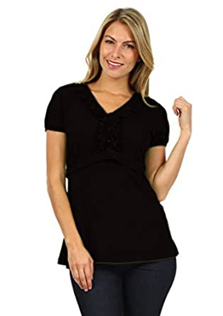 Tess Empire Line Chic Maternity and Nursing Top (Small, Basic Black)
