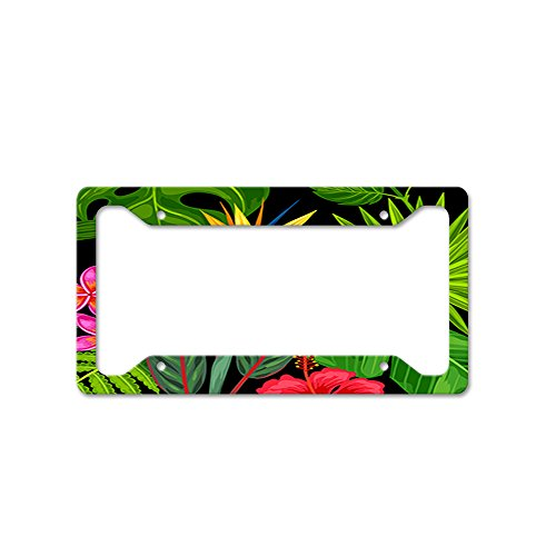 Style In Print Tropical Flowers and Palm Tree Leaves Car License Plate Frame Tag Holder 4 ()