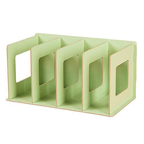 TTShonf 4 Grids Wooden Bookshelf Storage Rack Tabletop Bookcase Organizer Home Decor Green ()