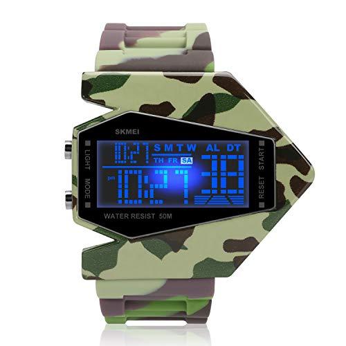 iwolkon Boys Wrist Watches,Kid Digital Watch 50M Waterproof LED Military Alarm Stopwatch Cool Plane Design for Boys (Green)