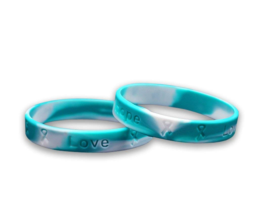 Fundraising For A Cause 50 Pack Teal & White Awareness Silicone Bracelets (Wholesale Pack - 50 Bracelets) by Fundraising For A Cause (Image #1)