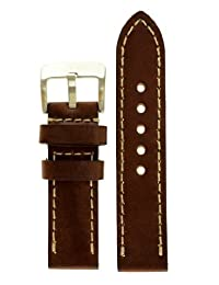 JP Leatherworks Panerai Style Thick Full Grain Leather Watch Band With Heavy Stainless Steel Buckle (Brown)