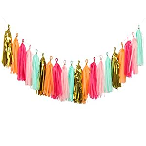 Ling's moment 20pcs Tassel Garland Banner, Tissue Paper Tassels for Wedding, Baby Shower and Party Decorations, DIY Kits - (Metallic Gold + Mint + Pink + Hot Pink + Orange)