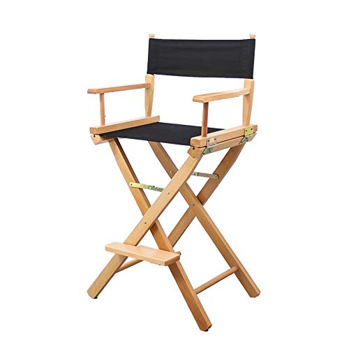 MEIDUO Rocking Lounger Solid Wood Folding Chair, Modern Director Chair Dining Room Chair in Canvas with Wooden Armrests Simple High Barstool, Seat Height 44.5/78.5 cm (Color : Black, Size : 78.5cm)