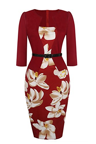Women's Retro 1950s Style Sleeveless Slim Business Pencil Dress (Burgundy,XXXX-Large) ()