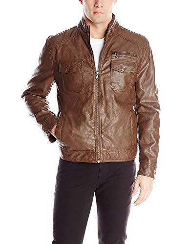 Kenneth Cole REACTION Men's Faux-Leather Moto Jacket, Almond, Large