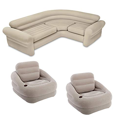 (Intex Inflatable Khaki Accent Chair with Cup Holder & Water Base (2 Pack) & Sofa )