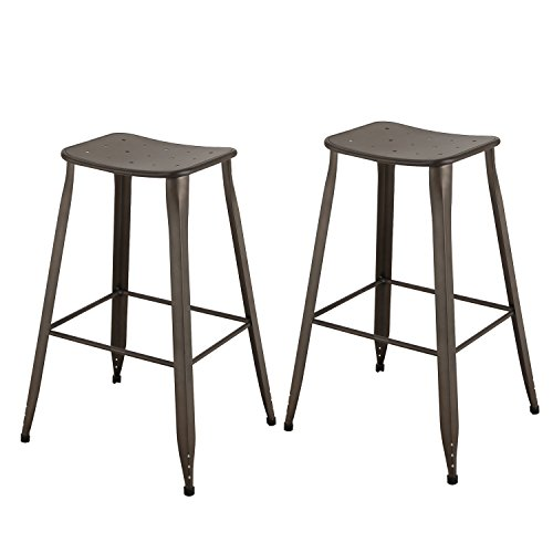 ELEGAN 30 Inches Sheet Metal Frame Tolix Style Backless Bar Stool, Set (Signature Silk Linen Collection)