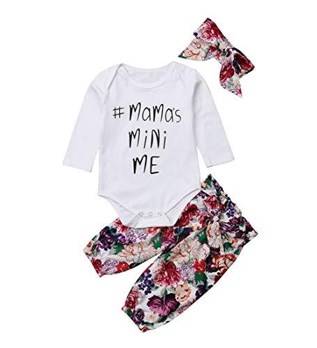 3PCS Clothes Set Newborn Toddler Baby Girl Romper Bodysuit Jumpsuit Floral Halen Pants Outfit Clothes (0-6 Months, White) ()