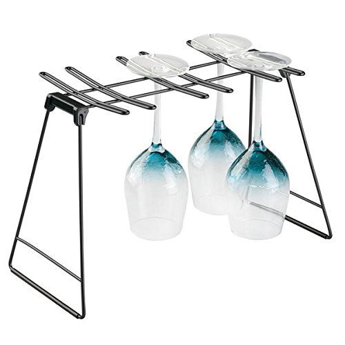 mDesign Wine Glass Drying Rack for Kitchen Counter Top - Matte Black/Black (Top Glass Rack)