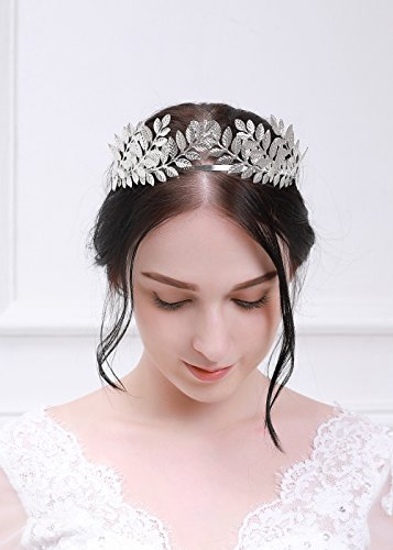 Kercisbeauty Halloween Athena Vintage Baroque Crown with Oliver Branch,Full Round Tiara for -