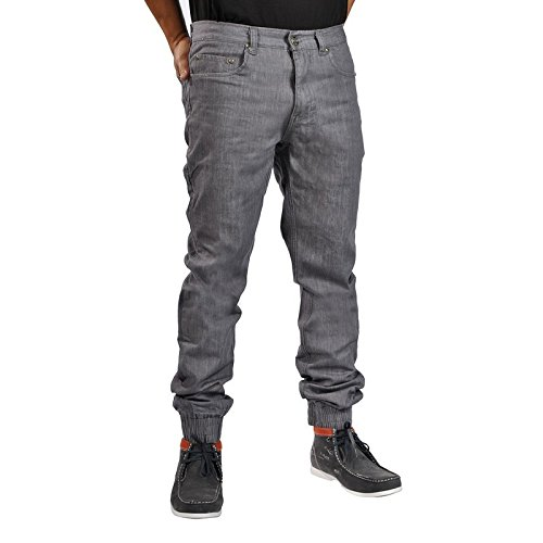 Men's Chino Zip Fly Cuff Button Denim Jogger (33,CharcoalDenim)
