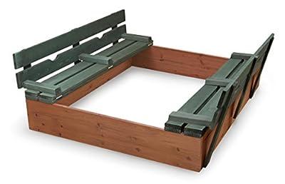 Badger Basket Covered Convertible Cedar Sandbox with Bench Seats | Popular Toys