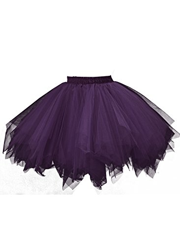 Emondora Retro Short Tutu Skirt Petticoat Adult Fluffy Party Multi-colored Ballet Costume Dark Purple Size M-XL]()