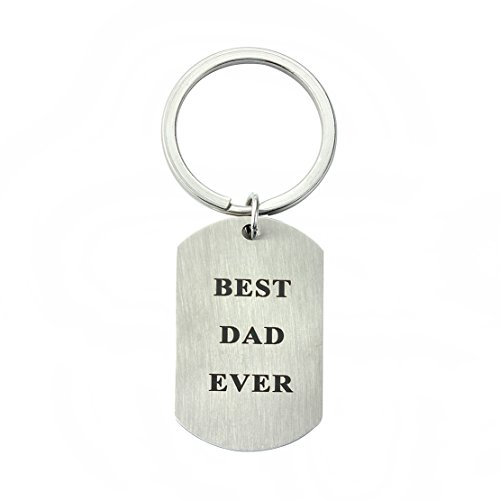 Meibai Best Dad / Grandpa Ever Stamped Stainless Steel Dog Tag Pendant Keychain for Father's Day Gift (BEST DAD EVER) Best Dad Gifts Ever