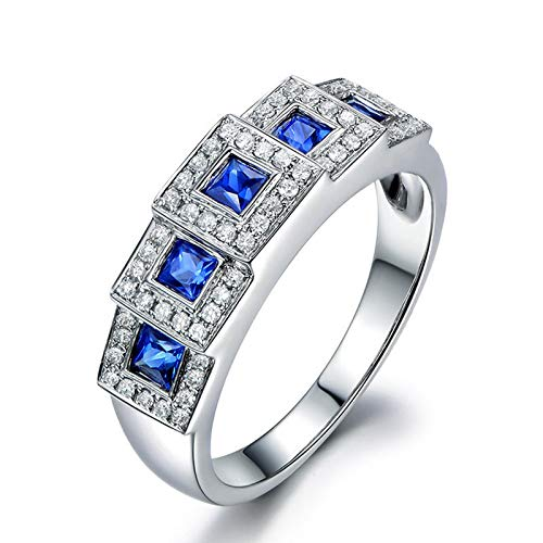 Artcarved Stackable Ring - MoAndy Wedding Rings for Women Sterling Silver Jewelry 5 Square Blue Sapphire Square Clear Zircons Size 5