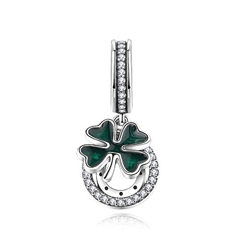 hoe Charms Four Leaf Clover Charms 925 Sterling Silver Bead Charms Mother's Day Gifts (Girls Horseshoe)