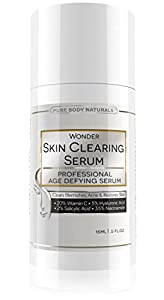 Vitamin C Serum 20% with Retinol 2.5%, Salicylic Acid 2%, Hyaluronic Acid, Niacinamide - Best Natural Anti Aging AND Skin Clearing Serum for Face, Acne, Blemishes & Wrinkles - 19 Wonder Products In 1! For Men and Women of All Skin Types - Also Reduces App