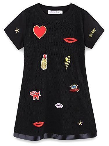 Jmeter Big Girls Appliques Cotton Black Dresses for