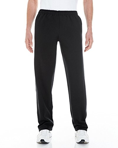 Gildan Adult Heavy Blend 8 oz Open-Bottom Sweatpants with Pockets - BLACK - M - (Style # G183 - Original Label) (8 Oz Sweatpant)