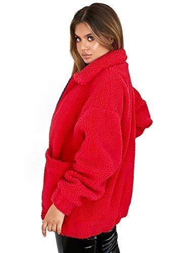 Coat Ladies Giacca Cardigan Plush Vino Turn Peluche Fleece Teddy Collar Casual Allentati Sciolti Inverno Jacket Maniche Women Rosso Lunghe Fashion down Sisaki Uq6KwB4ARq