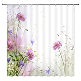 Pink and Purple Shower Curtain AMNYSF Pink Light Purple Flower Shower Curtain Wild Flowers Spring Plants Floral Scenery Decor White Fabric Bathroom Curtains,70x70 Inch Waterproof Polyester with Hooks