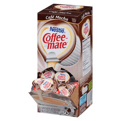 Liquid Coffee Creamer, Cafeacute; Mocha, 0.375 oz Cups, 50/Box, 4 Box/Carton
