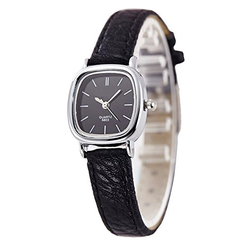 Gets Women Small Square Dial Leather Strap Classic Unisex Dress Unusual Quartz Watchs (Black strap black dial)