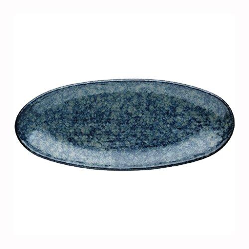 He Xiang Ya Shop Fruit Plate Home Ceramic Sushi Plate Blue Snack Plate Dish Plate Long Strip Plate by He Xiang Ya Shop