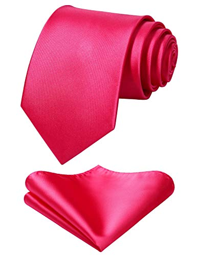 (Mens Solid Pink Tie Classic 3.4