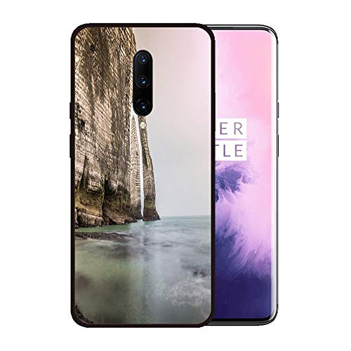 Case for OnePlus 7 pro,Silicone Cover and Tempered Glass 2 Materials,Non-Slip, Anti-Drop, Anti-Scratch,Depict- Etretat Rock Formation in Normandie France
