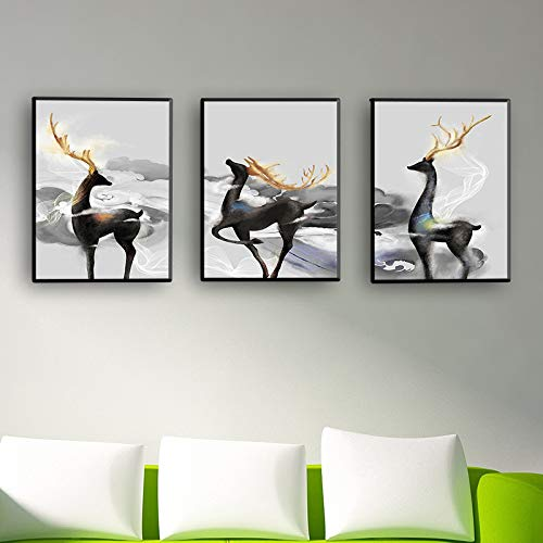WSNDG Simple Modern Wealthy Deer stag Triple Painting New Chinese Bedroom Living Room Triptych Decorative Painting Without Picture Frame A3 50x70cm (No Frame) (Furniture Discount Derby)