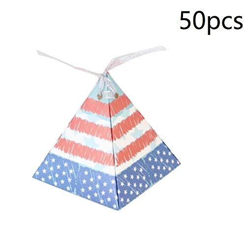 50pcs Favor Box Party Favor Candy Box Star Stripe Gift Box for 4th of July Day Independence Day National Day Party Decoration
