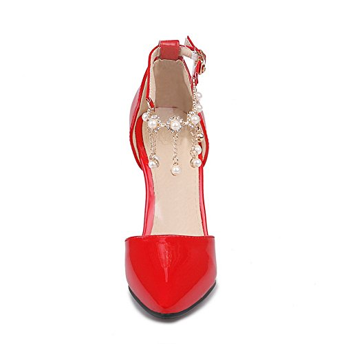 BalaMasa Girls D Ring Spikes-Stilettos Solid Patent Leather Pumps-Shoes Red BzCPjzH