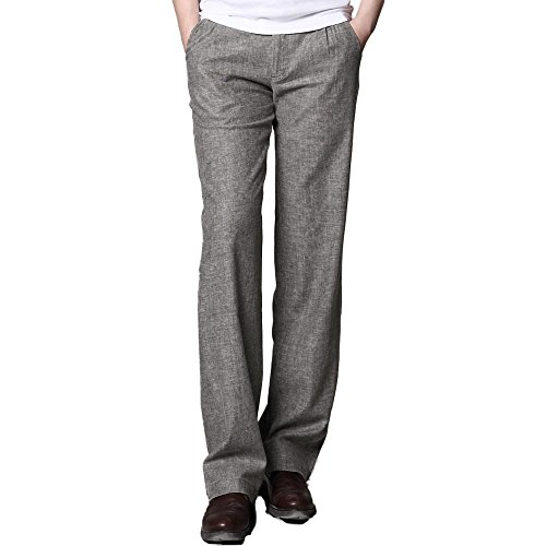 Linen Viscose Wide Leg Pant - MARKLESS Men Summer Thin Straight Linen Pants Casual Commercial Slim Fit Trousers (30W30L, Gray)
