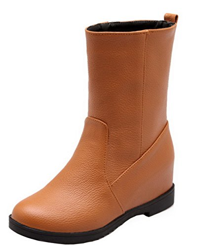 AgeeMi Shoes Women Round Closed Toe Pull-On PU Solid Kitten-Heels Low-Top Boots Brown cXZ6KnW