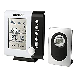 Homdox Wireless Weather Station Clock Indoor/Outdoor Weather Forecaster Station Thermometer Humidity Monitor with Remote Sensor