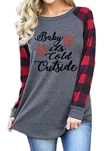 - Plus Size Baby It's Cold Outside Christmas T Shirt Women's Plaid Splicing Long Raglan Tops Blouses Size XXX-Large (Gray)