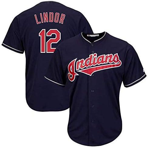 Hhwei Cleveland Indians 12# Francisco Lindor T-Shirt mit V-Ausschnitt für Jugendliche und Erwachsene, Größe M