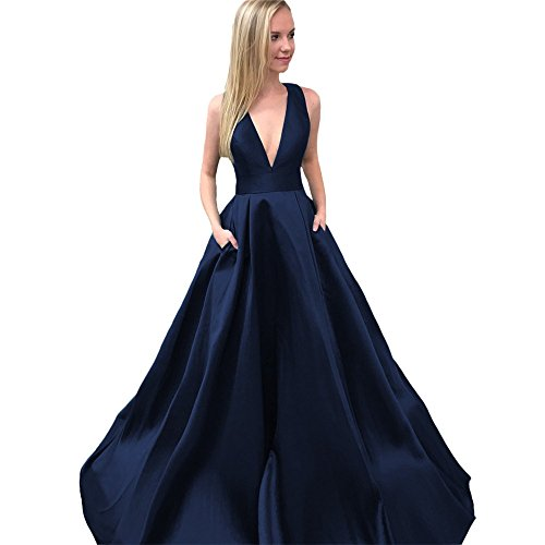 Evening Party Blue CCBubble Neck Satin Dress Prom V Navy 2018 Long Prom Dresses 80n8x