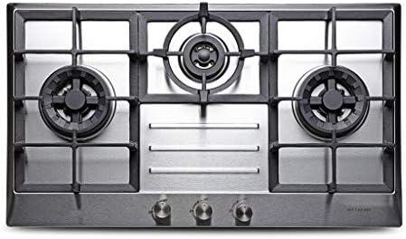 30x18インチ、熱電対保護付きの5つのバーナーストーブステンレス鋼コンロを内蔵し、ガスレンジの掃除が簡単、3つのバーナー